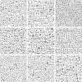 Doodles seamless pattern vector set.