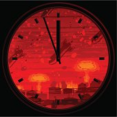 Doomsday clock showing 3 minutes to midnight