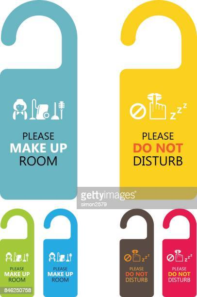 door handle hanging tag with text please make up room and do not disturb - travel tag stock illustrations, clip art, cartoons, & icons