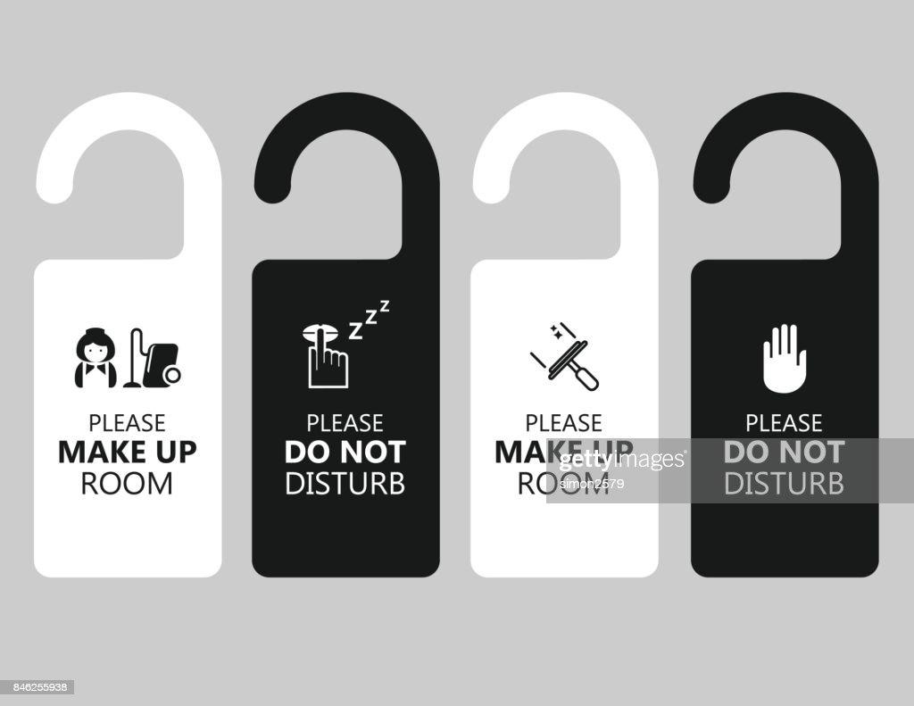 please lock door. Door Handle Hanging Tag With Text Please Make Up Room And Do Not Disturb : Vector Lock