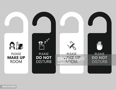 Door Handle Hanging Tag With Text Please Make Up Room And