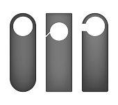 Door hanger mock-up set - blank dark gray cards isolated on white