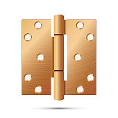 Door Hinge Vector. Classic And Industrial Ironmongery Isolated On White Background. Simple Entry Door Metal Hinge Icon. Copper, Bronze. Stock Illustration