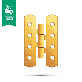 Door Hinge Vector. Classic And Industrial Ironmongery Isolated On White Background. Simple Entry Door Metal Hinge Icon. Gold, Brass. Stock Illustration