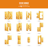 Door Hinge Vector. Set Classic And Industrial Ironmongery Isolated On White Background. Simple Entry Door Metal Hinge Icon. Gold, Brass. Stock Illustration