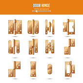 Door Hinge Vector. Set Classic And Industrial Ironmongery Isolated On White Background. Simple Entry Door Metal Hinge Icon. Copper. Stock Illustration