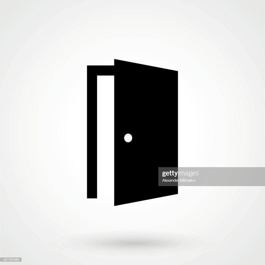 Door Icon in trendy flat style isolated on grey background. Open door symbol