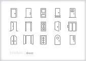 Door line icons for business and home