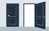 door open and close. Vector illustration, flat design.