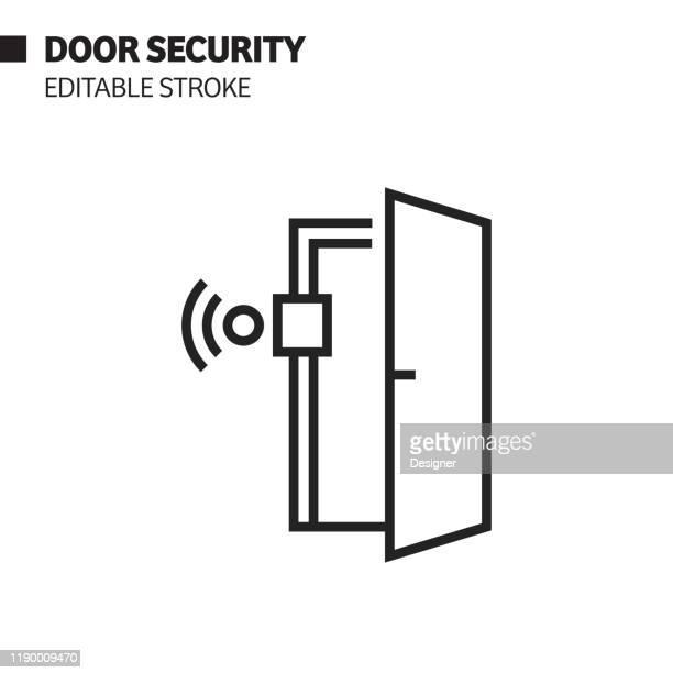 ドア セキュリティ ライン アイコン、アウトライン ベクトル シンボルの図ピクセルパーフェクト、編集可能なストローク。 - 開錠点のイラスト素材/クリップアート素材/マンガ素材/アイコン素材