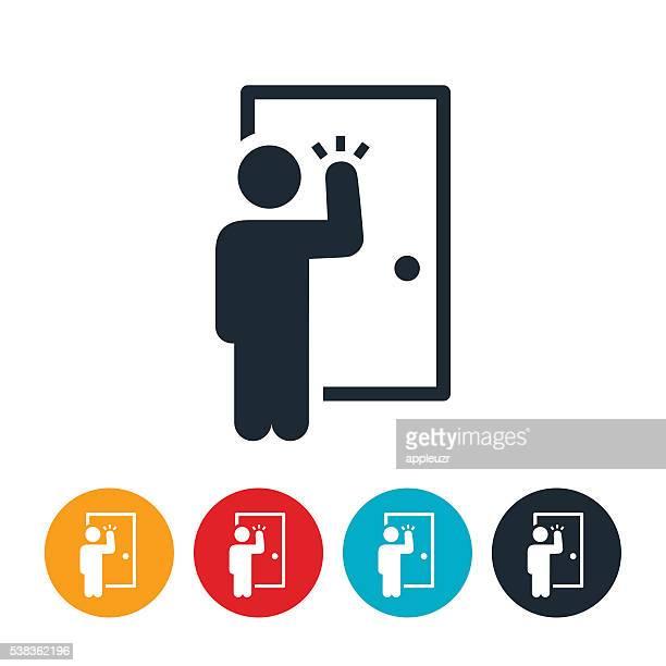 door to door salesman icon - door stock illustrations