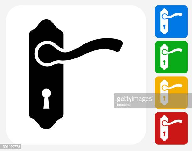 doorknob icon flat graphic design - keyhole stock illustrations, clip art, cartoons, & icons