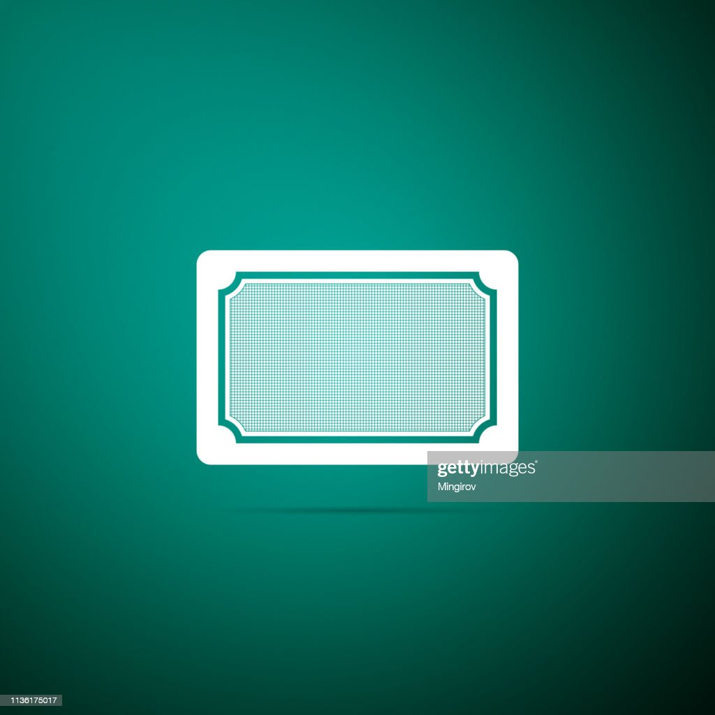 Doormat icon isolated on green background. Welcome mat sign. Flat design. Vector Illustration