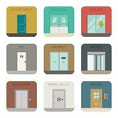 Doors icons set.