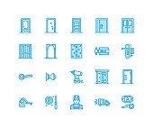 Doors installation, repair line icons. Various door types, handle, latch, lock, hinges. Interior design thin linear signs for house decor shop, handyman service. Pixel perfect 64x64