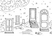 Doors landscape graphic black white sketch illustration vector