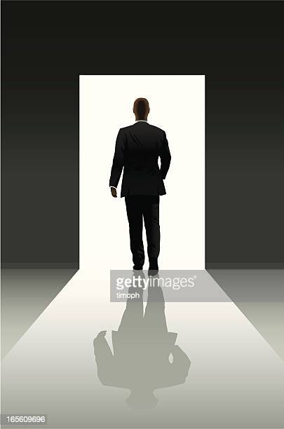 doorway and businessman - leaving stock illustrations