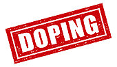 Doping Red Rubber Stamp Icon on Transparent Background