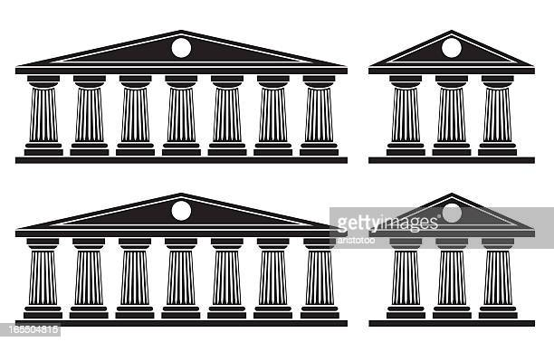 doric columns - classical greek style stock illustrations