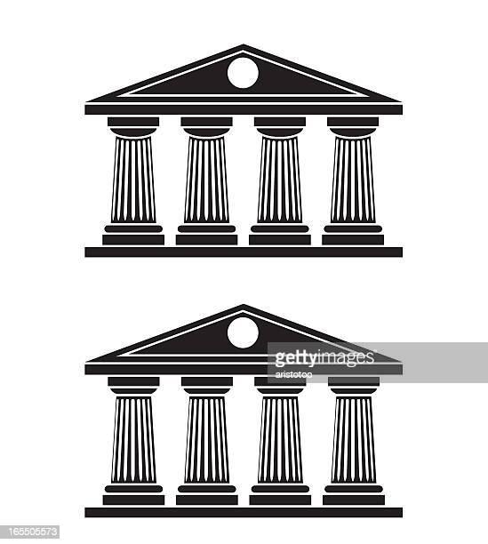 doric columns - classical greek stock illustrations, clip art, cartoons, & icons