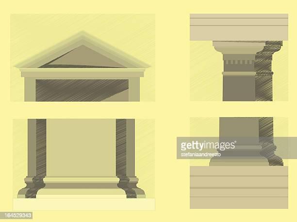 doric order - pediment stock illustrations, clip art, cartoons, & icons