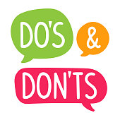 Do's and Don'ts. Vector hand drawn speech bubbles, label, badge, sticker illustration on white background.