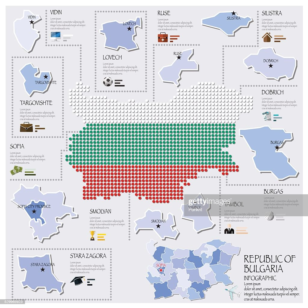 Dot And Flag Map Of Republic Of Bulgaria Infographic Design