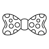 Dot bow tie icon, outline style