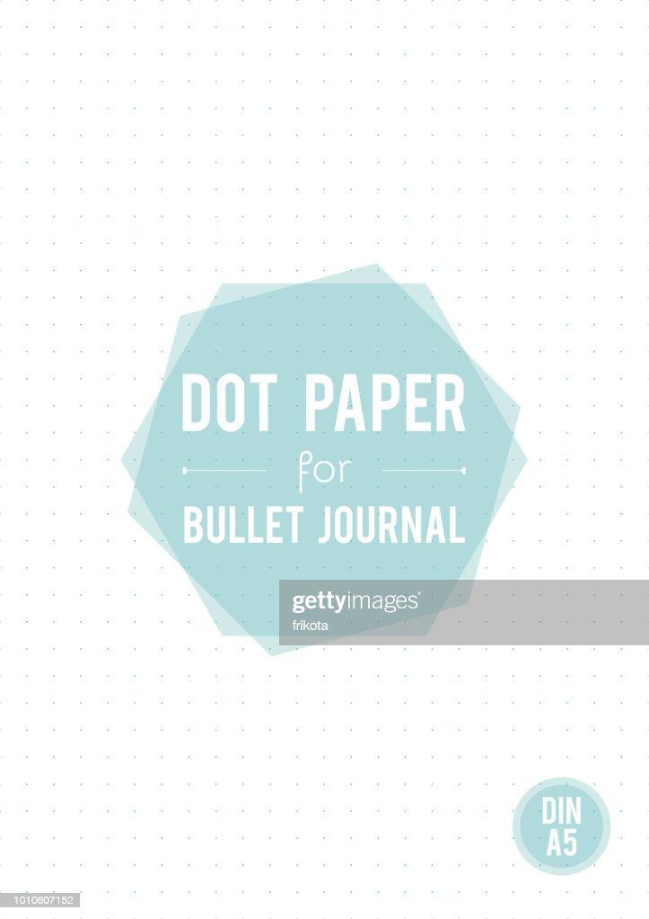 Dot grid paper. A5 size. For bullet journal. Vector illustration, minimal design