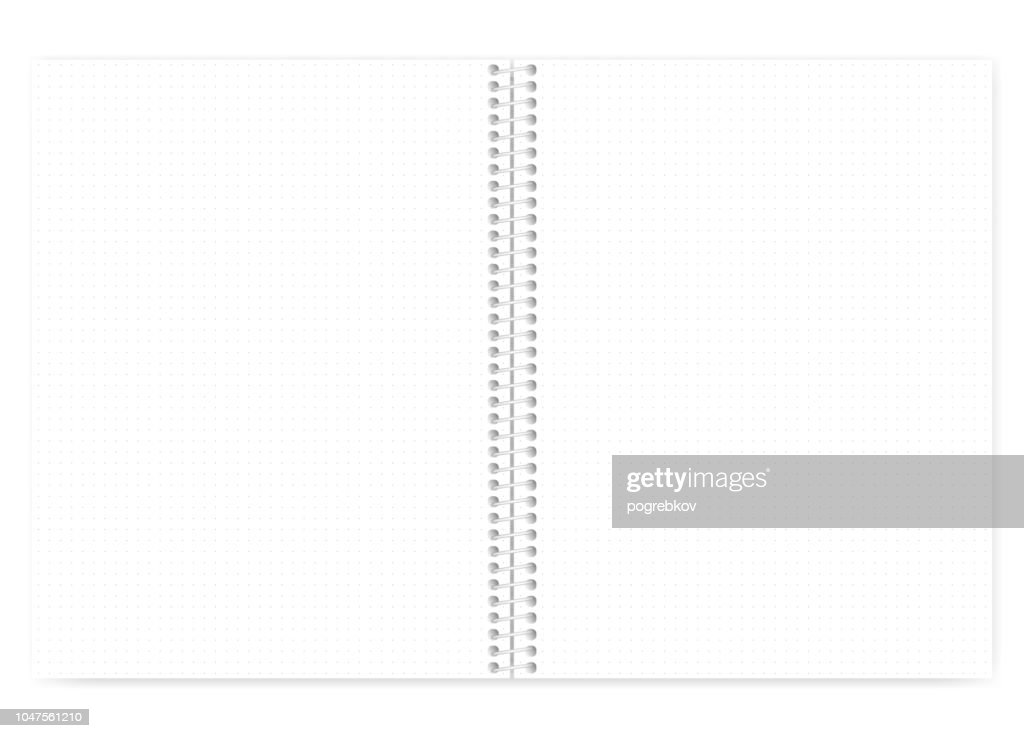 Dot grid spiral wire bound letter size note book, realistic mock up