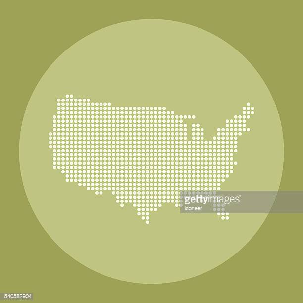 USA dot map on green olive circle background