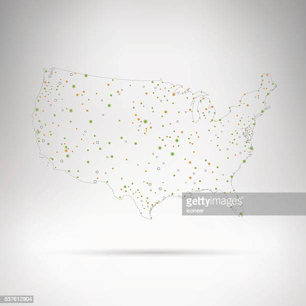 USA dot map with outline in grey space