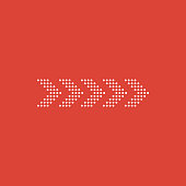 Dots arrow icon isolated on red background. Flat design. Vector Illustration