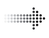 dots arrow icon on white background. dots arrow sign. black dots arrow symbol.