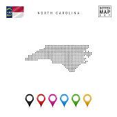 Dots Pattern Vector Map of North Carolina. Stylized Silhouette of North Carolina. Flag of North Carolina. Map Markers