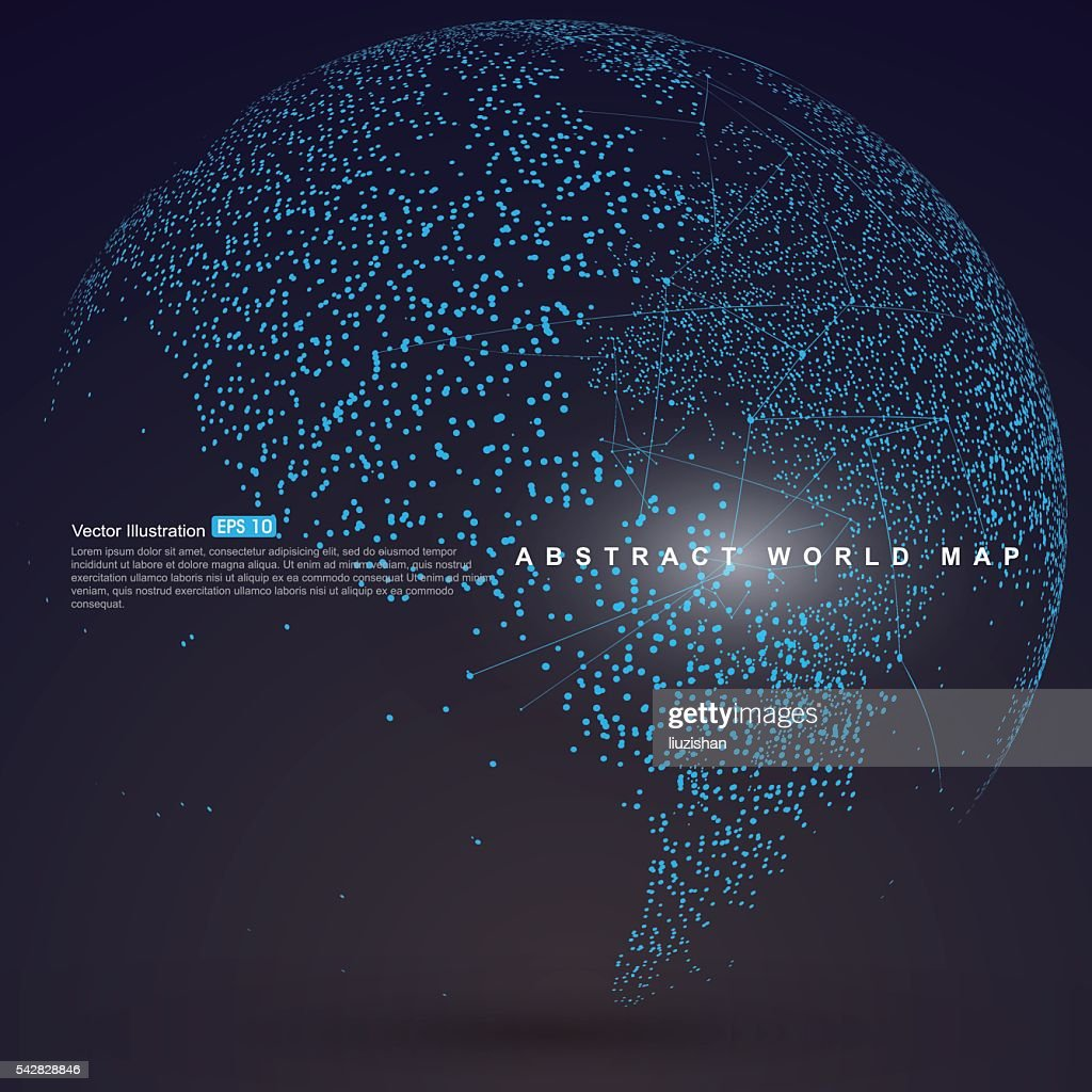Dots three-dimensional map of the world, abstract graphics.
