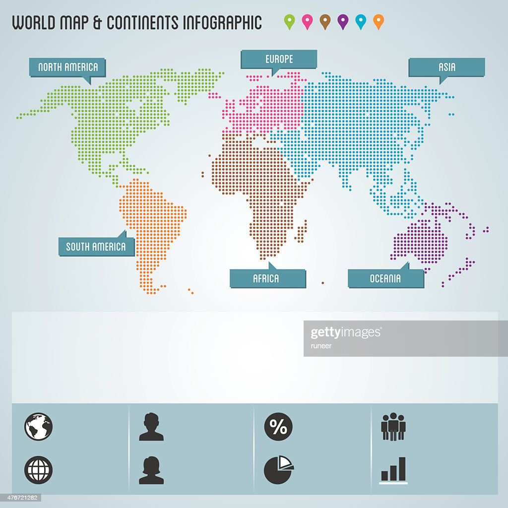 dots world map continents infographic vector art
