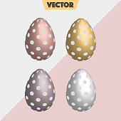 Dotted 3D silver, gold Easter eggs