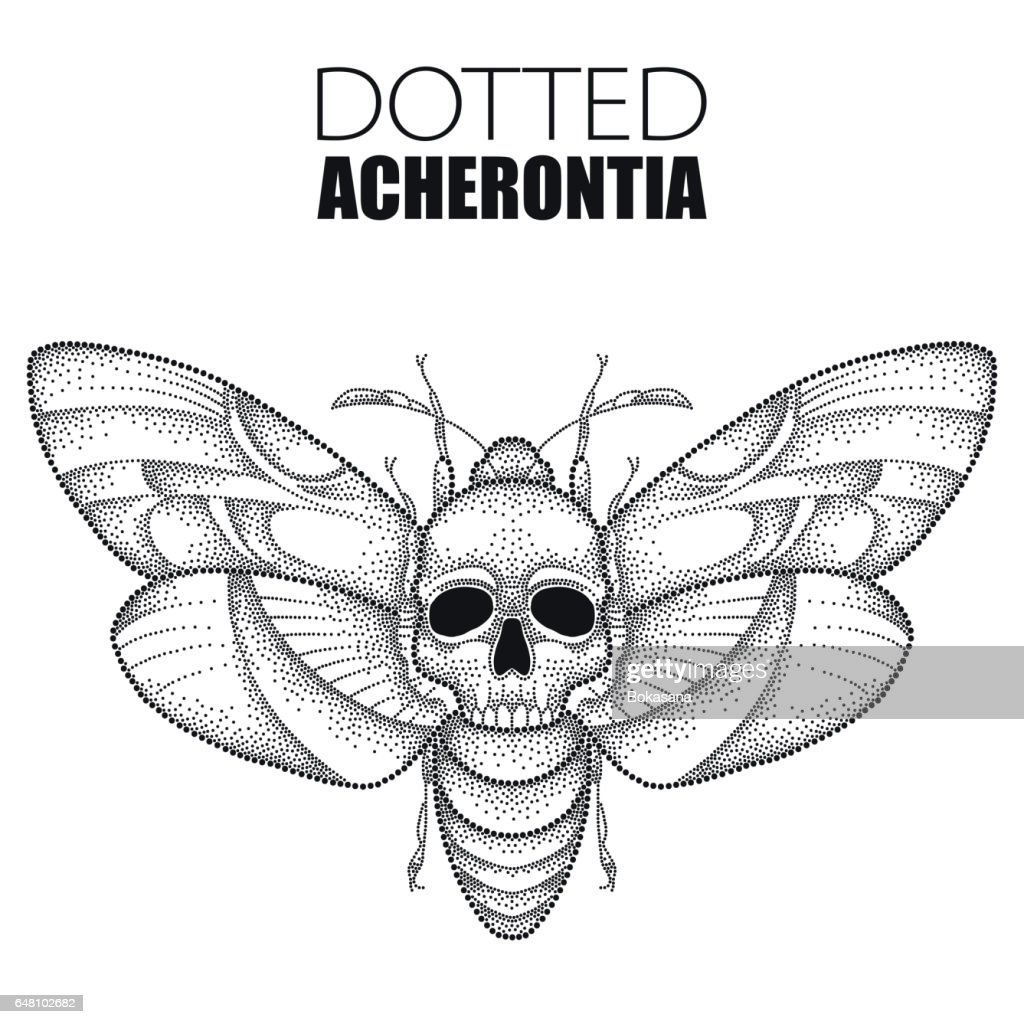 Dotted black Death's head hawk moth or Acherontia atropos isolated on white.