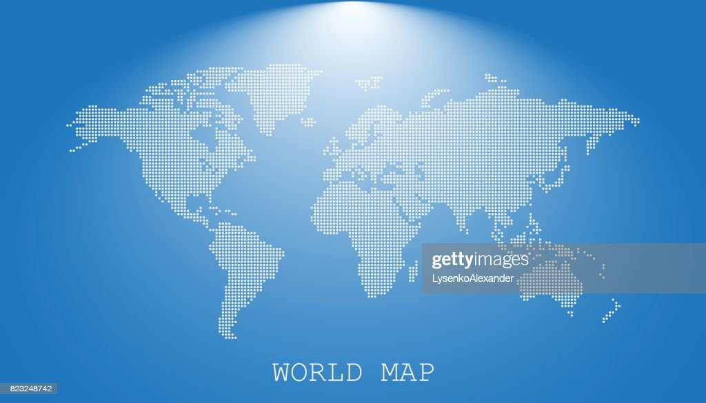 Dotted blank white world map isolated on blue background. World map vector template for website, infographics, design. Flat earth world map with round dots illustration.