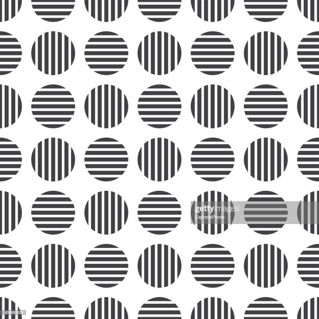 Dotted geometric seamles pattern. Striped cirlces - endless background.