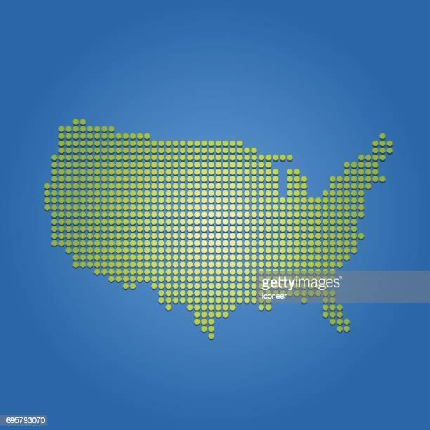 Gepunktete grüne Karte der USA auf blauem Hintergrund