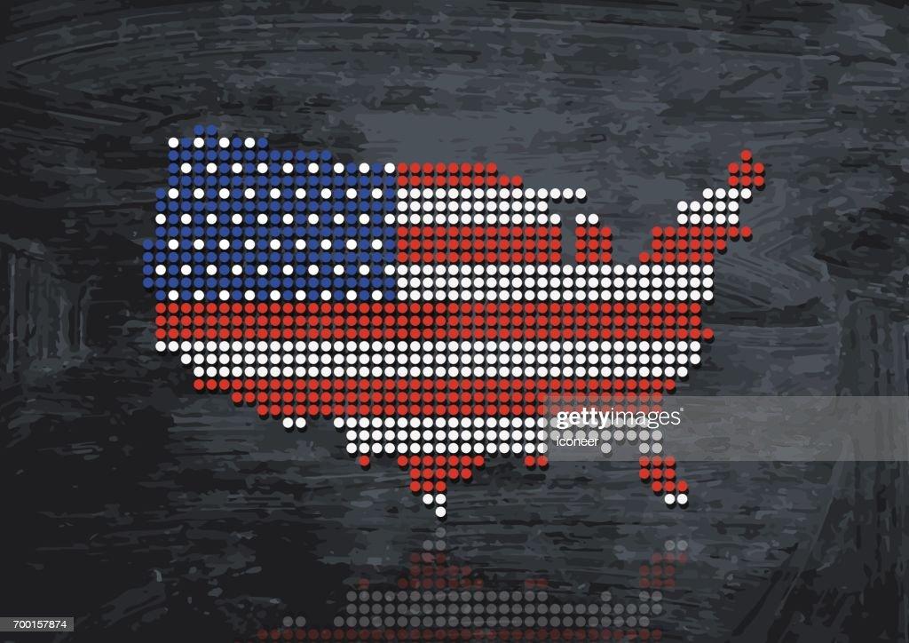 USA dotted grunge map on dark background