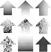 dotted halftone grunge arrows vector