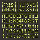 Dotted led font digital latin letters and numbers
