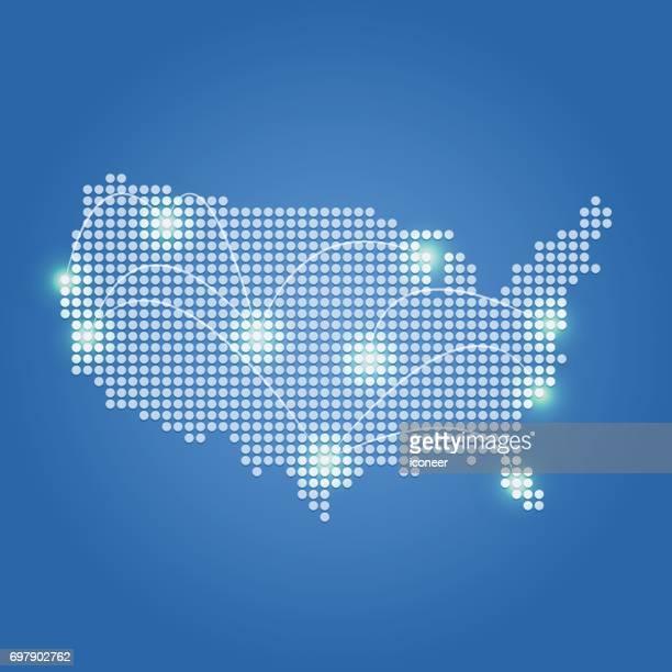 USA Karte blau Networkd auf glänzendem Hintergrund punktiert