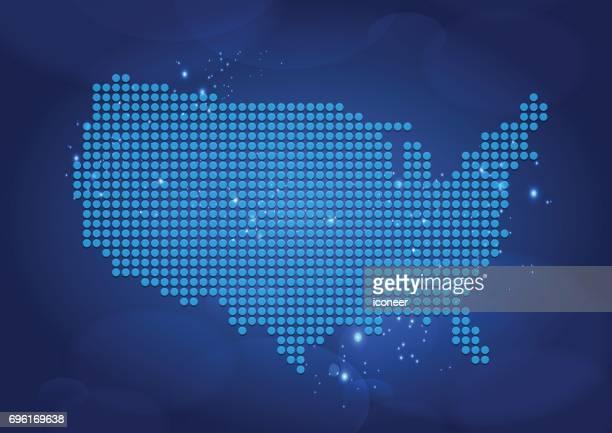 Gepunktete Karte der USA auf Luftblasen Hintergrund blau