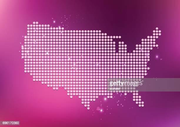 USA-gepunktete Karte in Pink auf Luftblasen Hintergrund