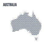Dotted map of Australia isolated on white background.