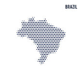 Dotted map of Brazil isolated on white background.